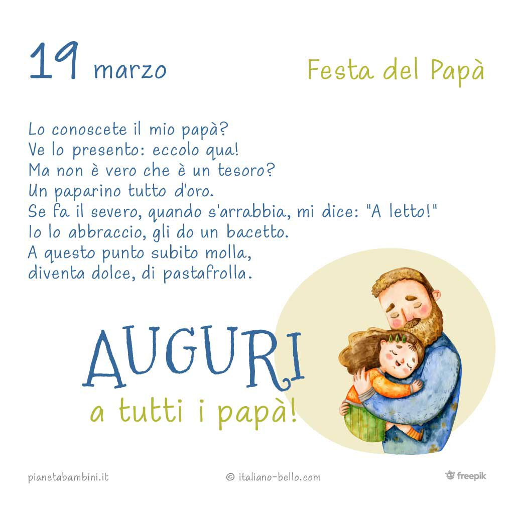 festa papa poesia - 19 March - Father's Day in Italy